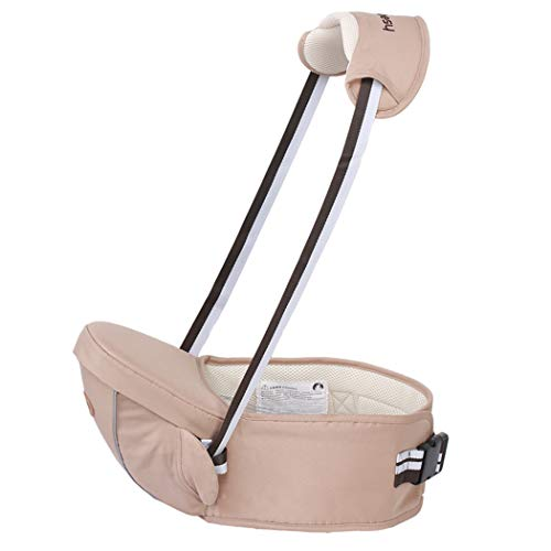 Ergonomic Hipseat Baby Carrier with Shoulder Strap, Waist Stool Seat for Carrying Baby Toddlers, Light Weight and Labor Saving-Khaki  GBX