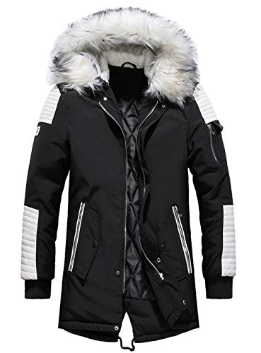 YYZYY Homme à Capuche Manteau Hiver Chaud Épais Fourrure avec Capuche Rembourrée Veste Mens Warm Winter Hooded Parka Coat Long Jacket (FR Medium, Noir - Blanc)