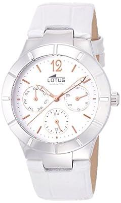 Lotus 0 - Reloj de cuarzo para mujer, con correa de cuero, color gris