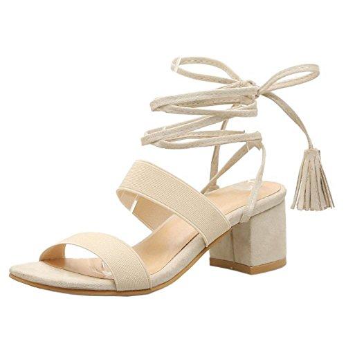 COOLCEPT Femme Mode A Lacets Sandales Bout Ouvert Slingback Talon Bloc Chaussures Beige