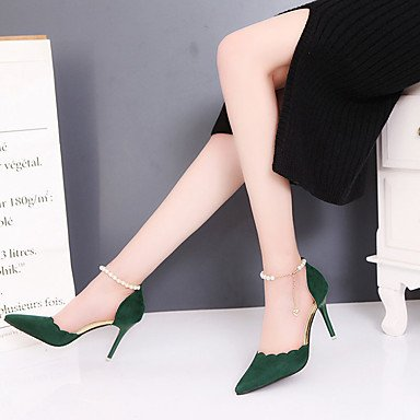 zhENfu Donna tacchi Comfort estivo similpelle Office & Carriera Casual Stiletto Heel perla fibbia a piedi Army Green
