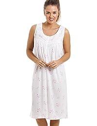Chemise de nuit - longueur genou/sans manches/douce/confortable - à fleurs - rose