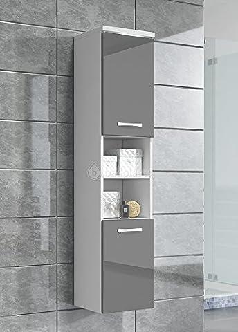 Badezimmer Schrank Paso 160 cm Hochglanz Grau Fronten – Regal Schrank Hochschrank Schrank Möbel