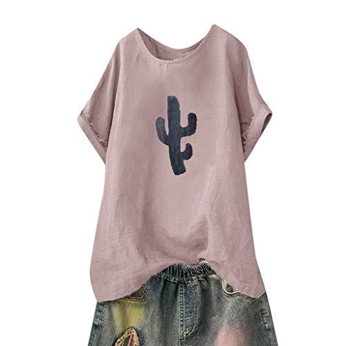 Kviklo Deman Plus Size T-Shirt Top Fish BoneCactus Druck Mode Einfarbig Loose Bluse Oversize(38,Rosa-Kaktus) -