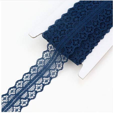 AiCheaX Lace Crafts - Breite 2,6 cm Lace Trim Nylon Stoff Lace Ribbon Tape DIY Handwerk Fenster Vorhänge gestickt Eisen auf Ornament für Kleidung appliziert - (Farbe: Marineblau) -