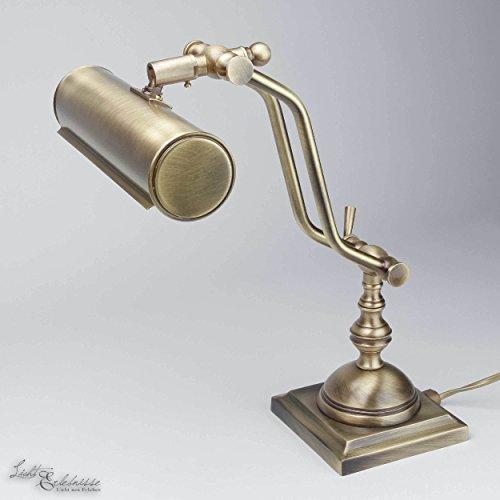 Tischlampe Bronze Echt-Messing Verstellbar LED geeignet Handarbeit Premium Schreibtisch Tischleuchte Klavier