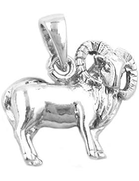 Unbespielt Unisex Kettenanhänger Anhänger Sternzeichen Widder aus 925 Silber Abmessung 13 x 11 mm inkl. kleiner...