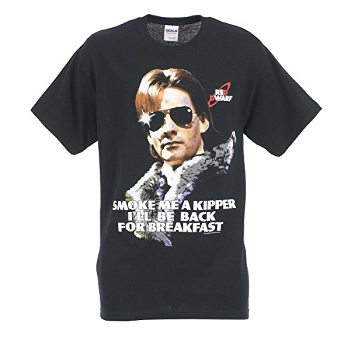 Red Dwarf Official Ace Rimmer 'Smoke Me A Kipper' Adults Black T-Shirt