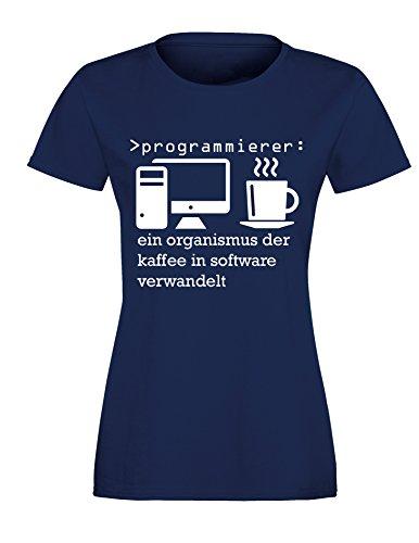 Programmierer - Ein Organismus der Kaffee in Software verwandelt! Perfektes Geschenk für Informatik Studenten - Damen Rundhals T-Shirt Navy/Weiss