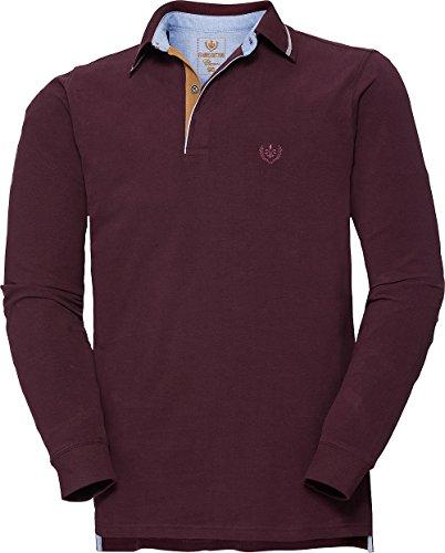 Franco Bettoni Herren Poloshirt in Bordeaux, Polohemd Langarm, Herren-Bekleidung, hochfeine Baumwolle, Weich & Bequem (Größe: 48-60)