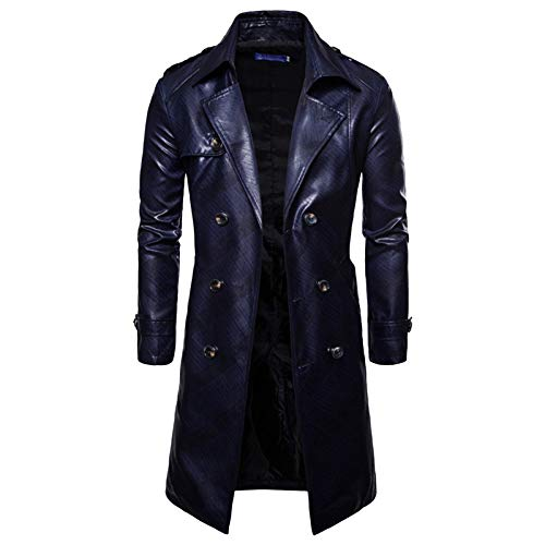 U-Leder-Anzug Lange Trenchcoat Zweireiher Jacken Vintage Mantel Langarm Oberbekleidung,Navy-XXL/Bust128cm ()