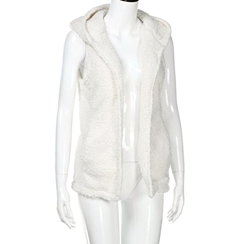 Tonsee Gilet Femme Chaud Sweat à Capuche Casual Manteau Fausse Fourrure Zip up Sherpa Jacket Blanc
