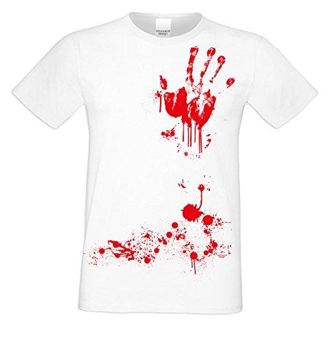 Zombie Kostüm Shirt T Weiß - Herren Halloween Kostüm T-Shirt auch Übergrößen Blutige Hand Farbe: Weiss Gr: S
