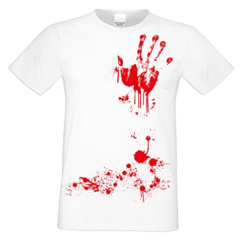 Grusel T-Shirt Herren Fun-Motiv Blutige Hand Geschenkidee Geburtstagsgeschenk Hexen Gespenster Geister Farbe: weiss Weiß