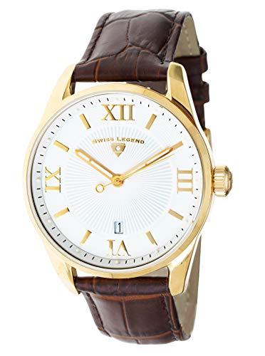 Swiss Legend Herren-Armbanduhr Belleza Analog Schweizer Quarz weißes Zifferblatt und goldfarbenes Edelstahlgehäuse mit braunem Lederarmband 22012-YG-02-BRN