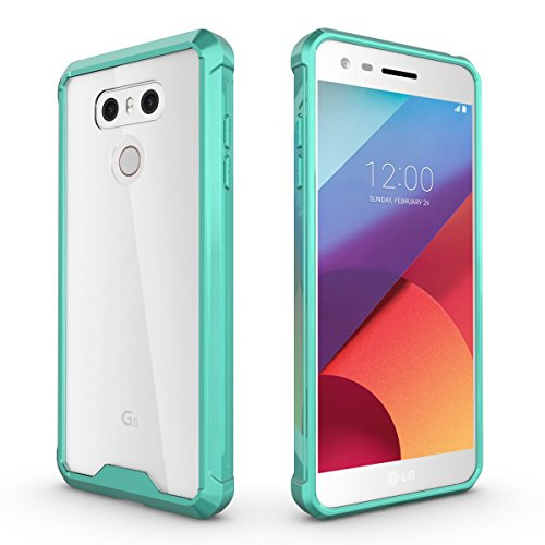 Schutzhülle für LG G6 Hülle, ZCRO Transparent Clear Hart Back Hard Case Handyhülle Silikon Weich TPU Rahmen Frame Bumper Hüllen Schale Stoßfest Etui Handytasche für LG G6 - Grün Rahmen