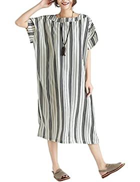 Mallimoda Donna Abito A Righe Manica Corta Casuale Vestito Dress
