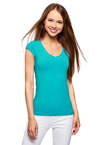 Oodji ultra donna t-shirt basic con maniche e scollo grezzo, turchese, it 40/eu 36/xs