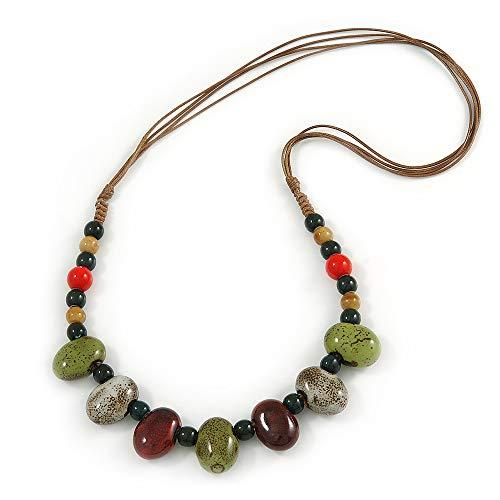 Avalaya - Collar Cuerda cerámica Cuentas Color marrón