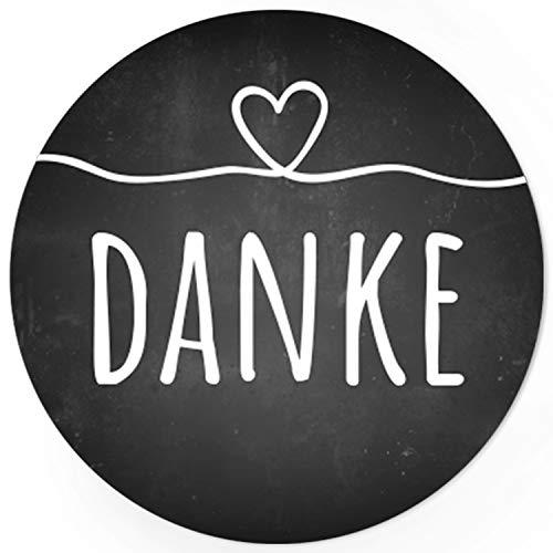 etten - DANKE - Aufkleber passend für Hochzeit, Liebe, Geburtstag - Motiv: Tafel-Look mit Herz ()
