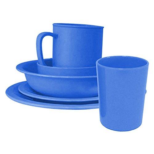 6-tlg. Geschirr-Set aus Kunststoff in Blau Tasse, Becher, Teller flach, Teller tief, Dessertteller, Kompottschale, Service, Gedeck, Kindergedeck, Kindergeschirr