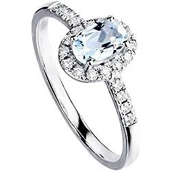 18K Or Blanc Diamant Bague Aigue-Marine Naturelle Ovale 4x6mm, Bijoux de fiançailles de Mariage,18(18.3mm)