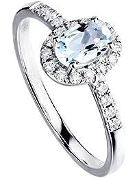 f6a831a0c197 18K Oro Blanco Diamante Anillo de Aguamarina Natural Oval 4x6mm