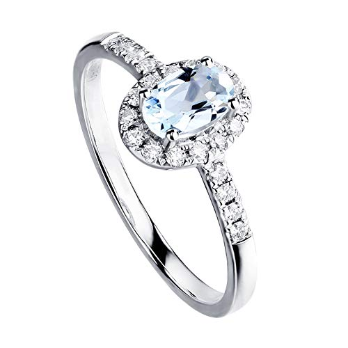 18K White Gold Diamond Natural Aquamarine Ring Oval 4x6mm, Hochzeits-Engagement Schmuck,15(17.2mm)