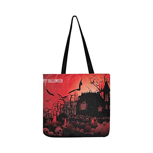 Halloween Scary Szene Leinwand Tote Handtasche Schultertasche Crossbody Taschen Geldbörsen Für Männer Und Frauen Einkaufstasche