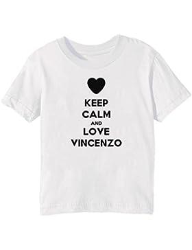 Keep Calm And Love Vincenzo Bambini Unisex Ragazzi Ragazze T-Shirt Maglietta Bianco Maniche Corte Tutti Dimensioni...