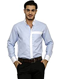 DAZZIO Solid Slim Fit Light Blue Formal Shirt (Please Refer Size Chart)