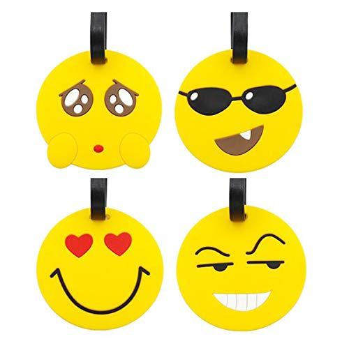 Bagages Étiquettes,Liuer 8PCS Emoji Etiquettes de Bagages PVC Etiquettes à Bagages Accessoires Voyage Valise Etiquettes de Bagages ID Tags Luggage Tag pour Cartes de Visite