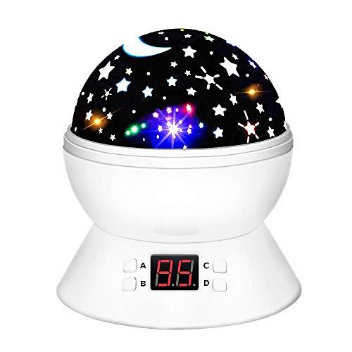 Geschenke 2-8 Jährige Mädchen, HoVe Nachtlicht Projektorlampe 360 Rotierenden Sternen Weihnachten Geschenke für Mädchen Kinder Spielzeug für 2 Jährige Mädchen Geschenke 2-8 Jahre Junge Weiß HVUKYD02