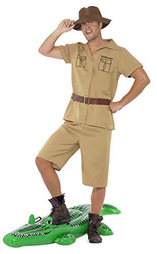 Smiffys, Herren Safari Mann Kostüm, Hemd, Shorts, Gürtel und Hut, Größe: M, 41044