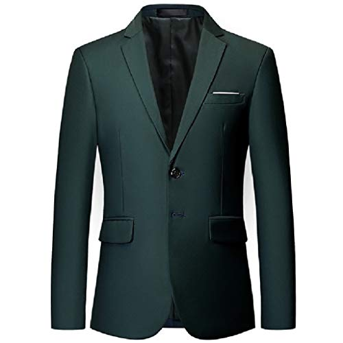 CuteRose Men Two-Button Lapel Blazer Pure Colour Business Sport Coat Jacket Blackish Green XL (Herren Suit Green Jacket)