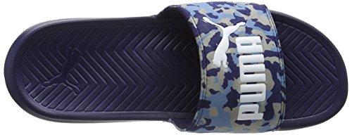 PumaPopcat Camo - Scarpe da Spiaggia e Piscina Unisex – Adulto Blu (Blau (peacoat-blue heaven-limestone gray-white 02))
