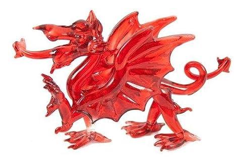 Glass Medium Red Welsh Dragon Ornament