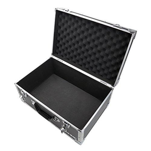 HMF 18441-02 Aufbewahrungskoffer, Transportkoffer Aluminiumrahmen, 48 x 32 x 22,5 cm, schwarz