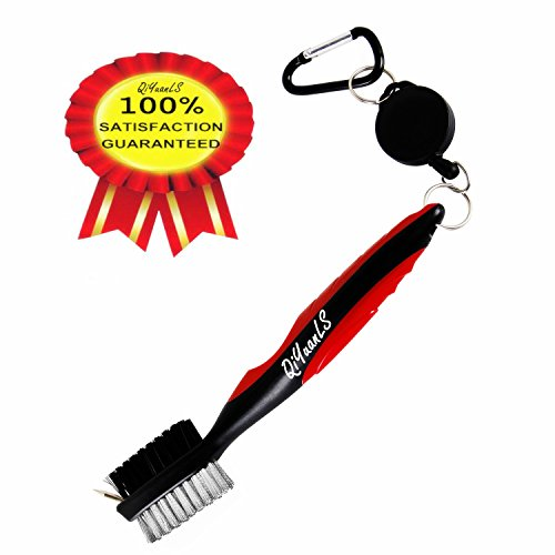 Golf Club Brush Golf Club Groove Cleaning Brush - 2 Ft Retractable Zip-line Aluminum Carabiner Easily Attaches to Golf Bag - For Cleaning Golf Shoes/Golf Club/Golf/Golf Groove (red)