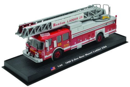 E-One Rear Mount Ladder Boston Fire Truck 1990 Diecast 1:64 Model (Amercom GB-15) (Ladder Fire Truck Spielzeug)