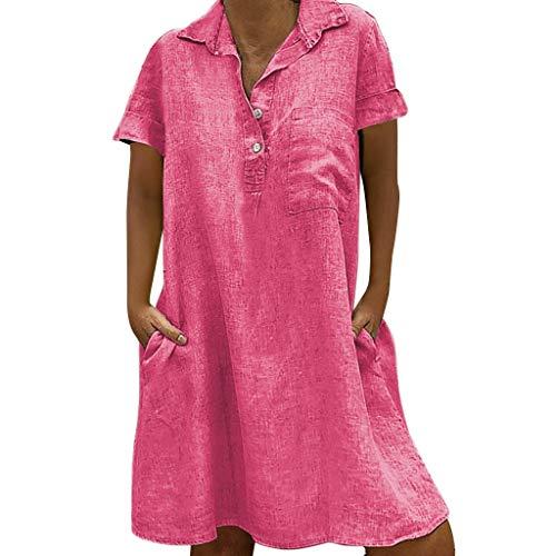 atz beiläufiges festes über Knie-Kleid-Hülsen-lose Partei-Minikleid(pink,XXXXX-Large) ()