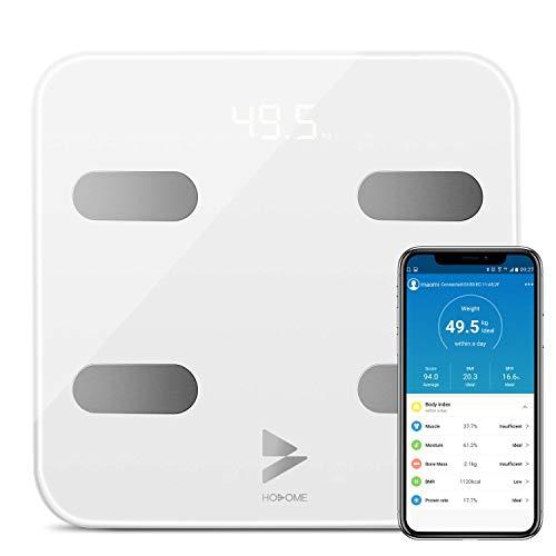 Personenwaage Digital Körperfettwaage Yuanguo Hosome Bluetooth Körperwaage mit APP und 17 Körperdaten, digitale Waage für Körperfett, BMI, BMR, Gewicht, Muskelmasse, Wasser, Protein, bis 180 kg -