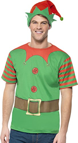 Smiffys Herren Elfen-Instant Kit Kostüm, Bedrucktes T-Shirt und Mütze, Größe: M, ()