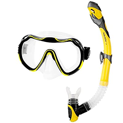 Aqua Speed JAVA & ELBA SET Snorquel + Gafas de buceo (Protección UV Silicona suave Anti-Niebla Panorama), Farbe:gelb