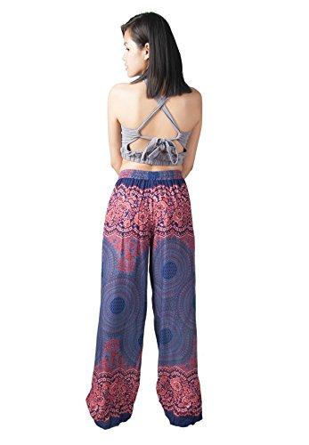 Lofbaz Donna Pantaloni a palazzo con stampa a gamba larga Design #1 Blu scuro