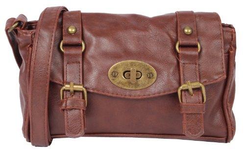 NEW BAGS NB1938 Umhängetasche Schultertasche Überschlagtasche S mit 2 Schnallen einfarbig Kunstleder (22cmx14cmx5cm) Braun