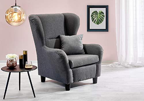 lifestyle4living Ohrensessel in grau im Landhausstil   Der perfekte Sessel für entspannte, Lange Fernseh- und Leseabende. Abschalten und genießen!