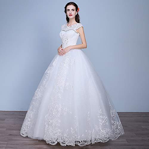 WJZ Braut White Lace Long Sleeve Brautkleid Puppe Kragen Süße Prinzessin Brautkleid,Beige,XXL