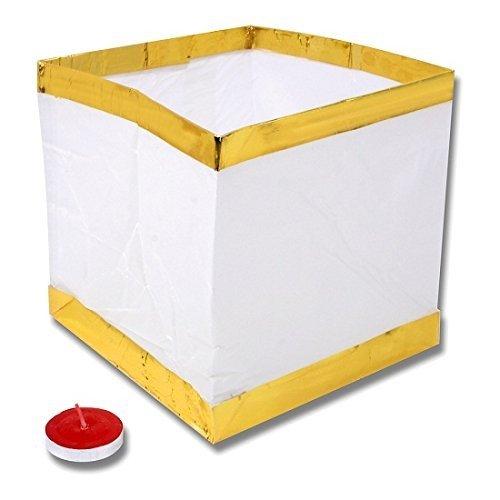 Schramm® 12er Pack Wasserlaterne Goldrand 15 x 15 x 15cm Wasser Laterne Licht Schwimmlicht Windlicht Sky Laterne Skylaterne Skylaternen (14 Sky-laternen)