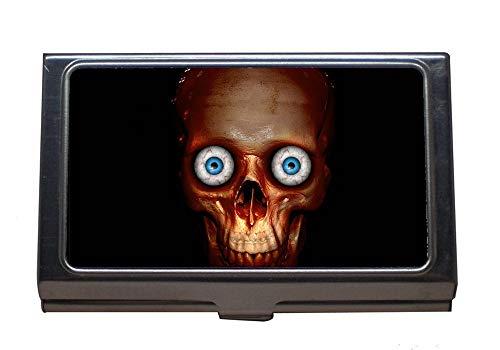Edelstahl-Visitenkartenhalter, Halloween-Anatomie-Hintergrundkörper-Knochen-Gehirn, Visitenkarten-Etui für Männer und Frauen